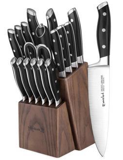 Knife Set, Emojoy 18-Piece Kitchen Knife Set with Block Wood