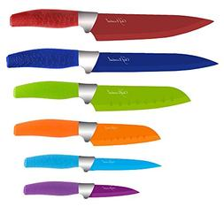 Chef Essential 6 Piece Knife Set With Matching Sheaths, Mult