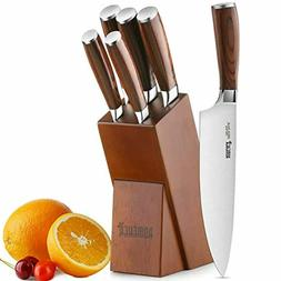 Knife Set,6-Piece Kitchen Knife Set with Wooden Block German