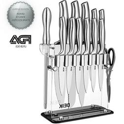 Deik Knife Set Block Stainless Steel Chef Set 14 Piece Super
