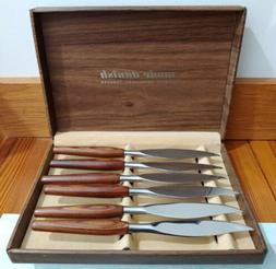 knife set midcentury modern vintage teak handles