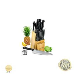 Knife Set With Wooden Block - 15 Piece Set Includes Chef Kni