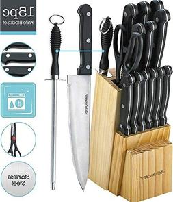 Kitchen Chef Knife Set 15 Pcs in A Wood Butcher Block Holder