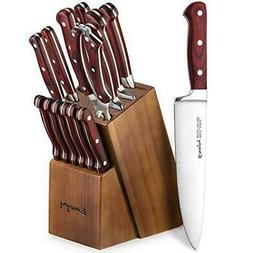 Knife Set, 6 Piece Kitchen Knife Set with Block Wooden, Chef