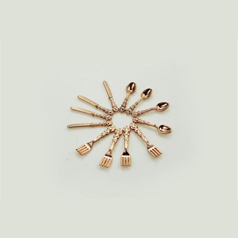 12PCS/<font><b>set</b></font> Miniatures <font><b>Cutlery</b></font> Silver <font><b>Knife</b></font> Fork Spoon Childrens Toy