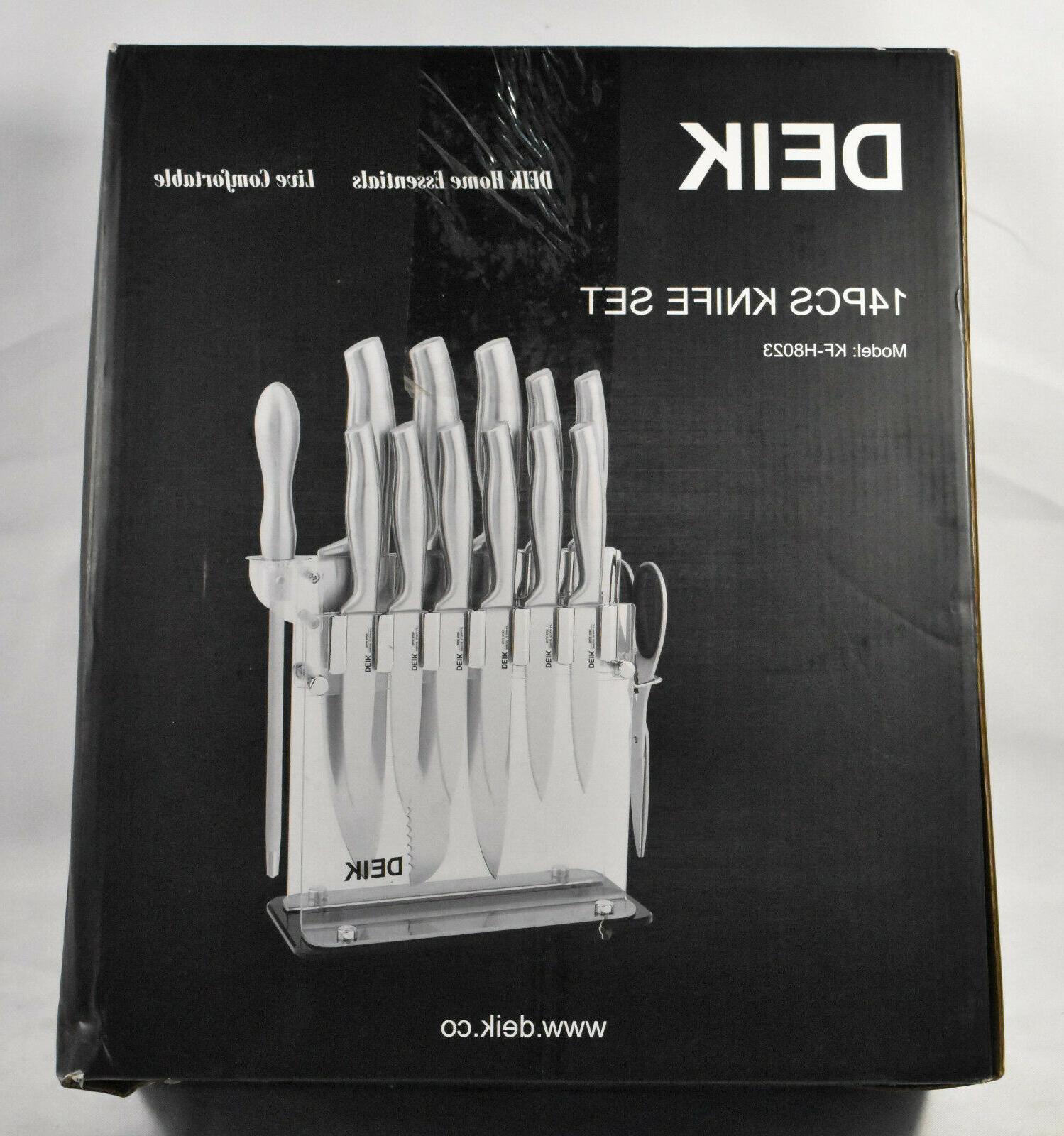 14 piece knife set with acrylic base