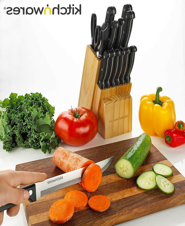 15 PC Chef Kitchen Steel Steak Wood Block