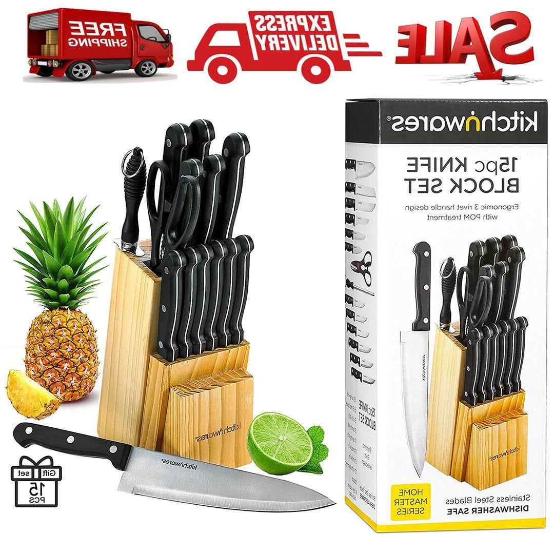 15 pc knife set chef kitchen sharpening