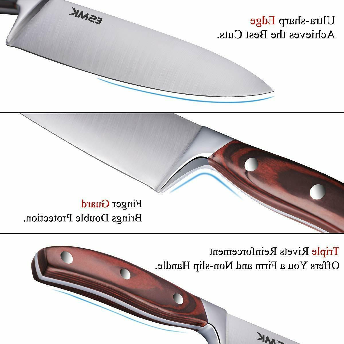 15-Pcs Steel Kitchen Knife Wooden Block Sharpener Ro