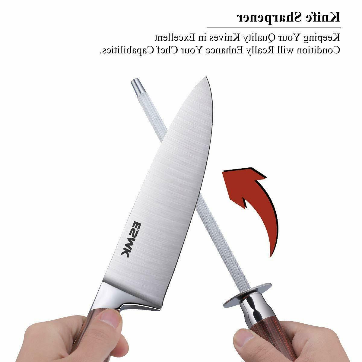 15-Pcs German Kitchen Knife Set Wooden Block &