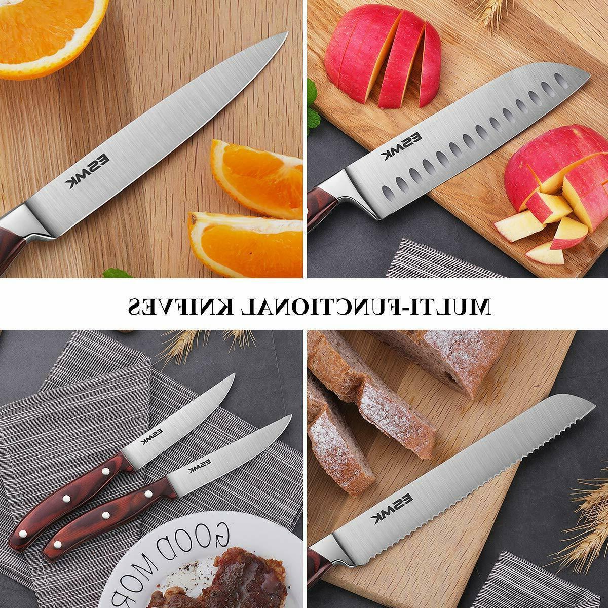 15-Pcs Kitchen Knife Wooden Block Ro