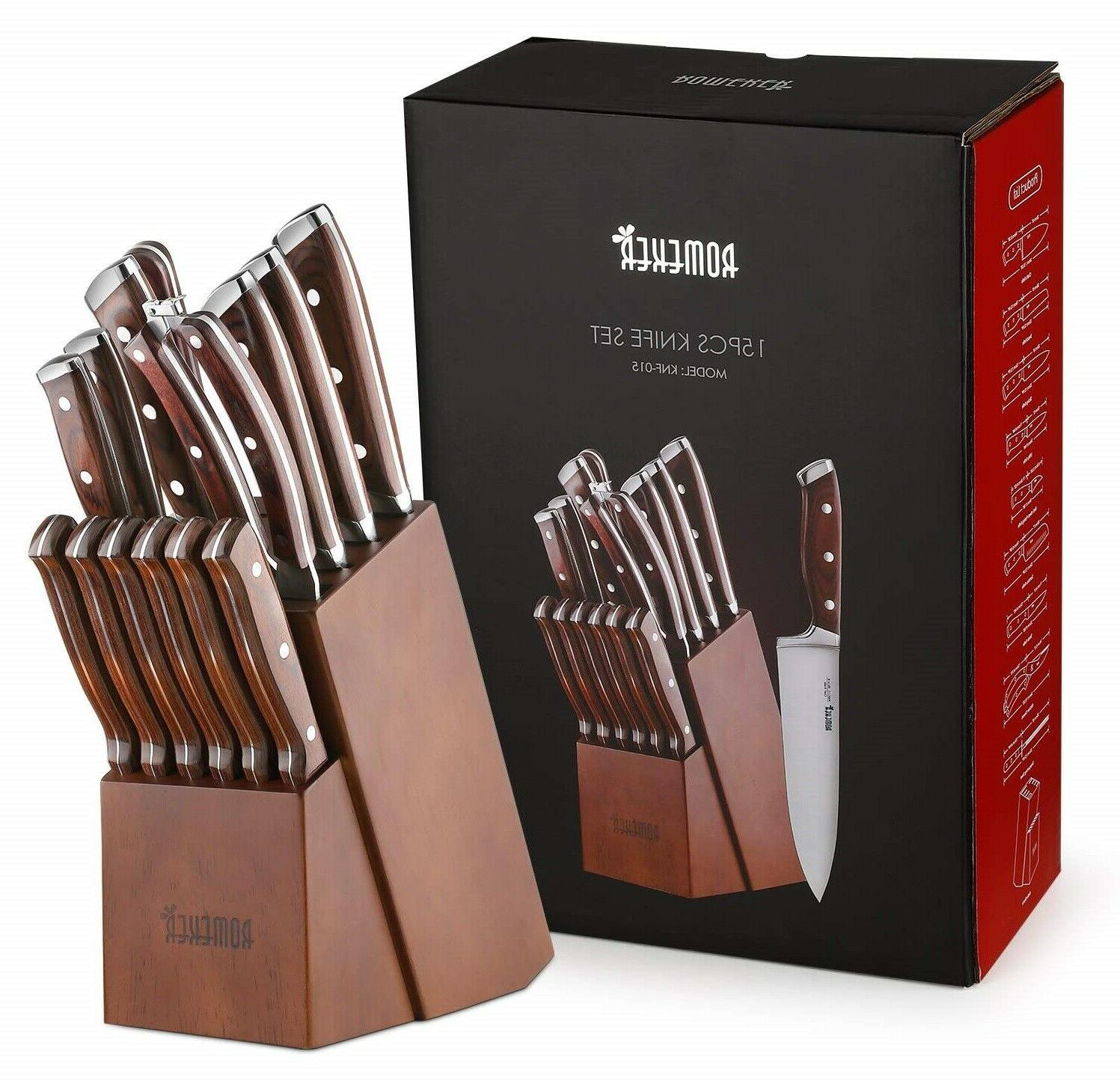 15-Piece High Carbon Chef With Block Wooden sharpener