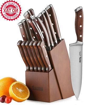 15 piece kitchen knife set with block