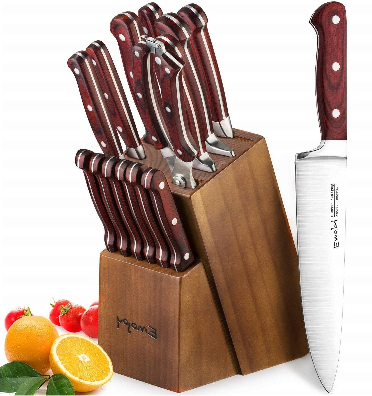 15 pieces german stainless steel kitchen knife
