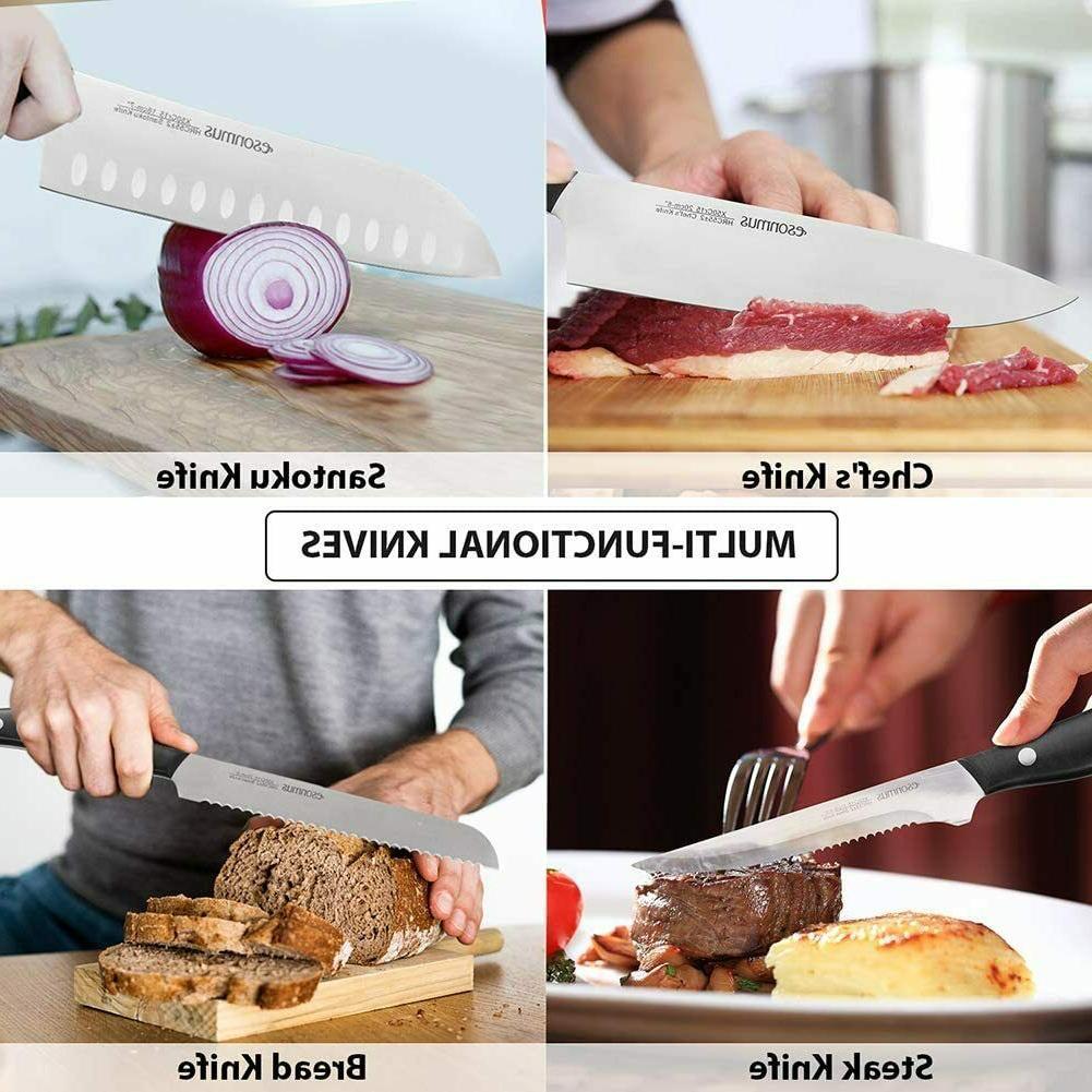 Kitchen Knife Set with Block Wooden, Set