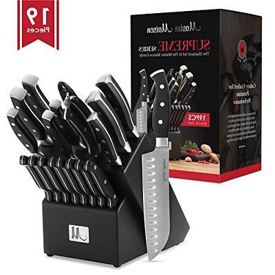 19-Piece Premium Kitchen Knife Set With Wooden Block | Maste