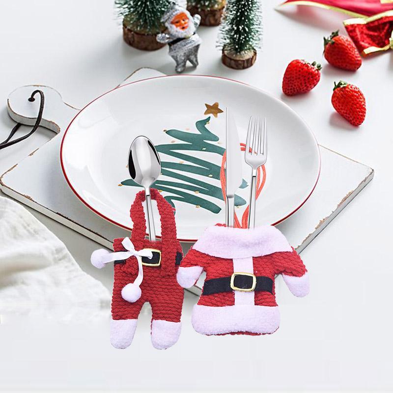 2Pcs/lot Pants Dinner Table <font><b>Set</b></font> Bag Christmas Party Xmas