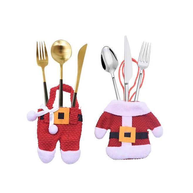 2Pcs/lot Fork Skirt Pants <font><b>Set</b></font> Cover Christmas Ornaments Party Gift Decor