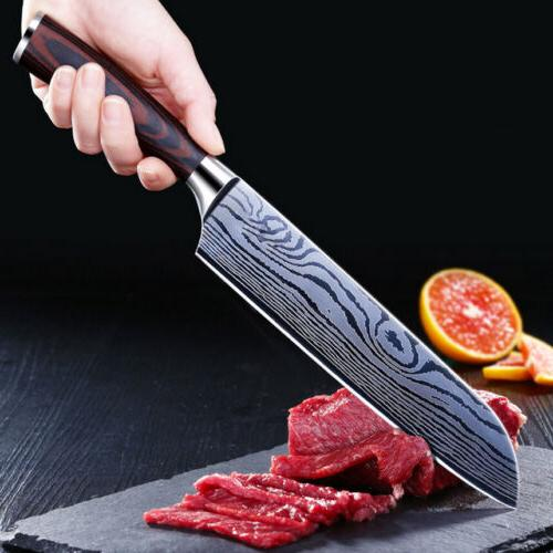"2PCS 8"" Damascus Pattern Chef Knife Carbon Steel Wooden Handle Kitchen Knife"