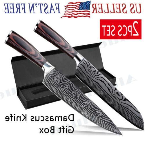 2pcs set 8 damascus pattern chef knife