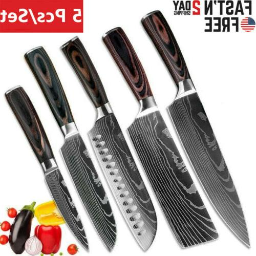 5 piece kitchen knives set japanese damascus