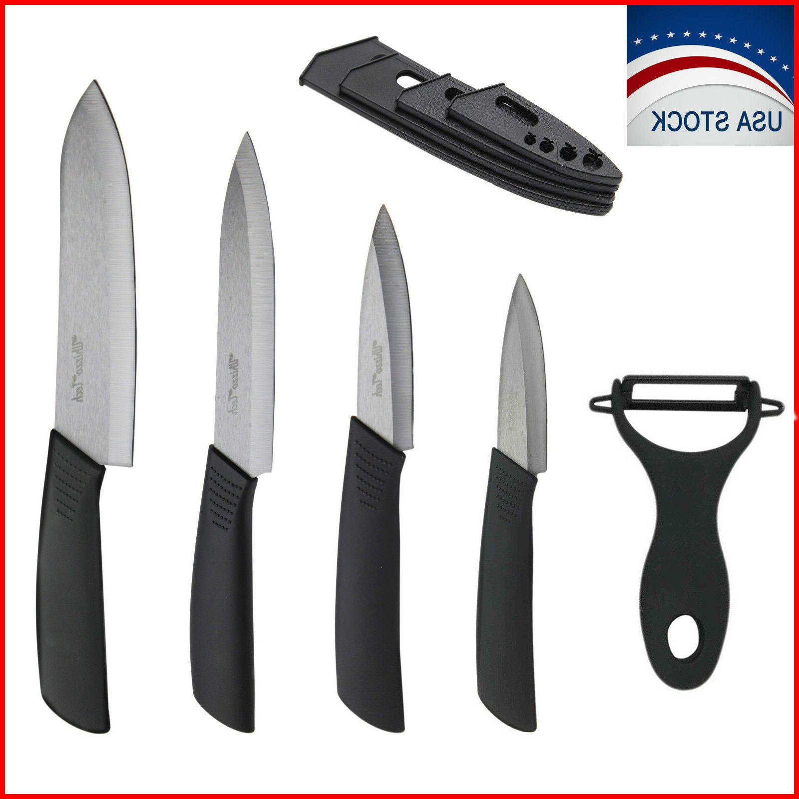 5 piece sharp kitchen ceramic knife set