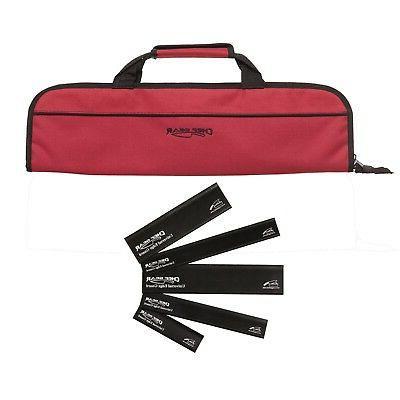 5 Pocket Chef Knife case roll bag  w/ 5pc knife edge guard S