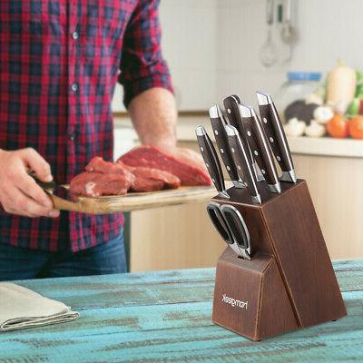 8 Stainless Steel Kitchen Knife with Oak Wooden Block Set