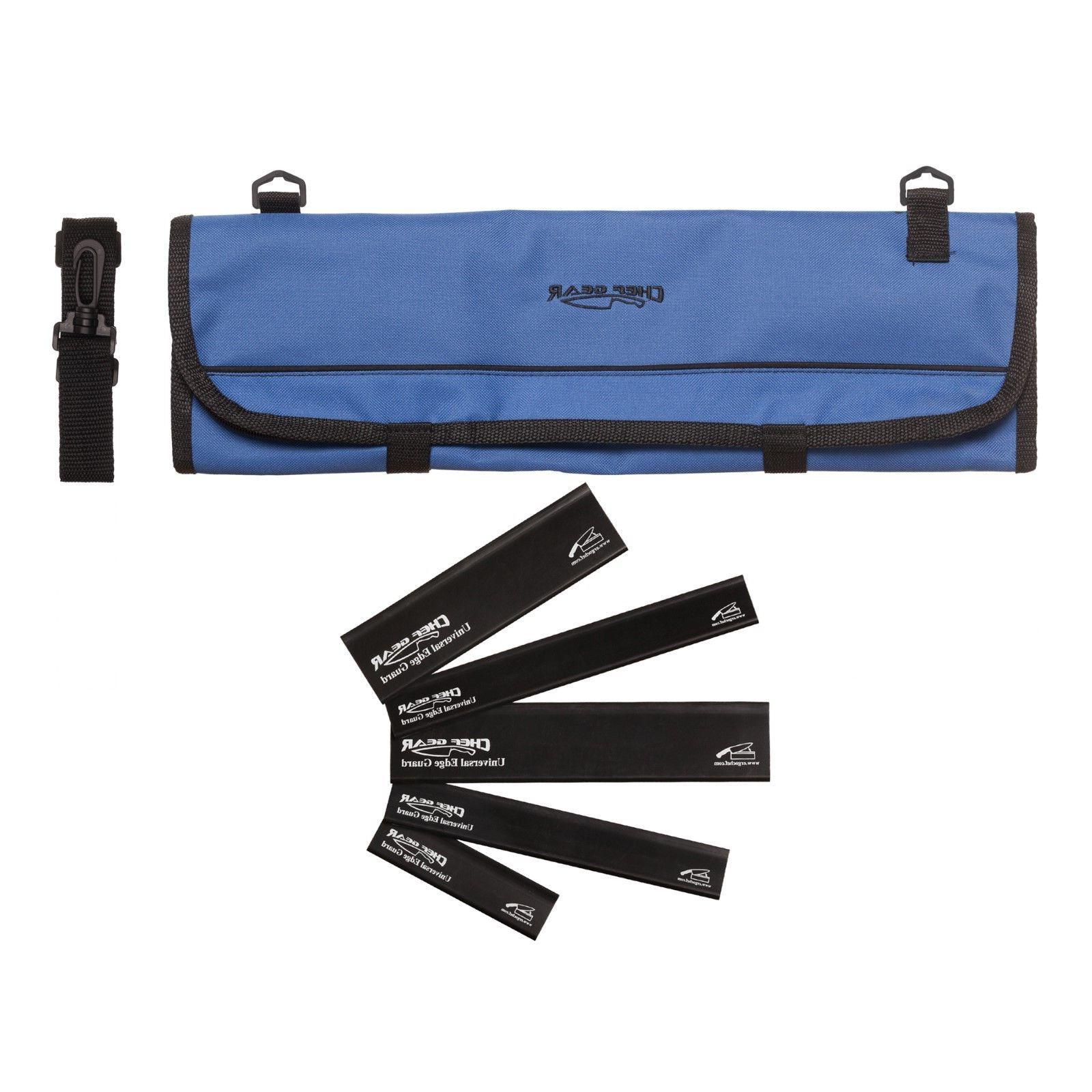 9 Pocket Chef Knife case roll bag  w/ 5 Piece Black edge gua