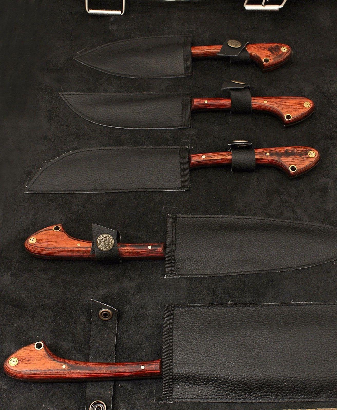 GladiatorsGuild Kitchen Red Wood Knife Set w Bag 33