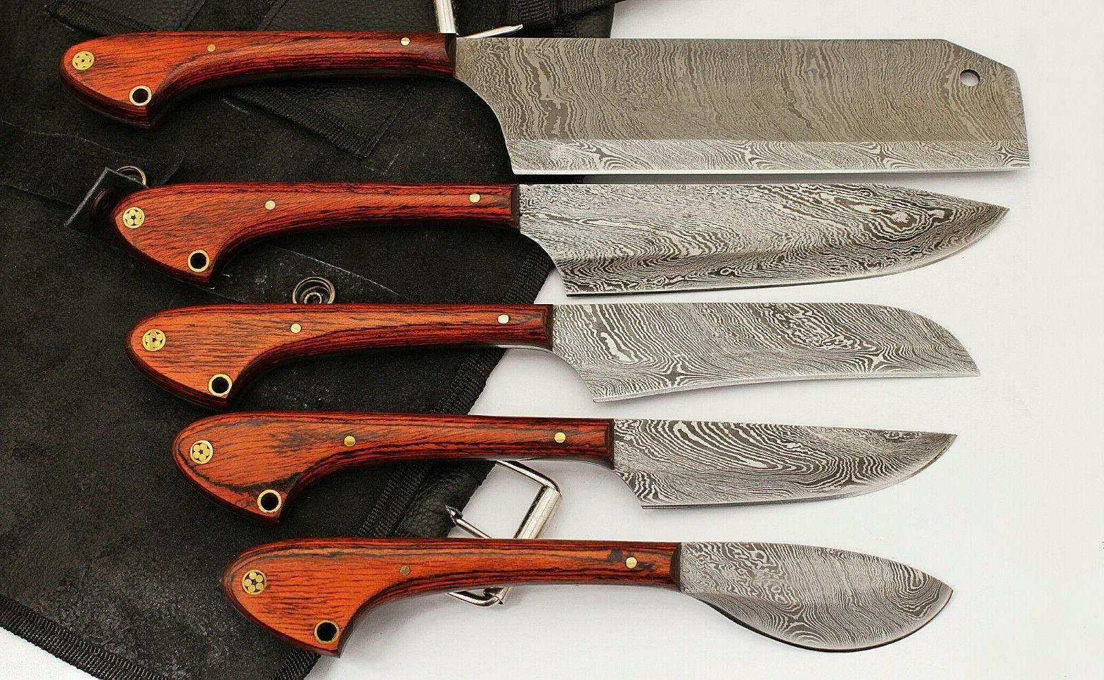 GladiatorsGuild Damascus Knife Kitchen Red Wood 5pc Chef Kni