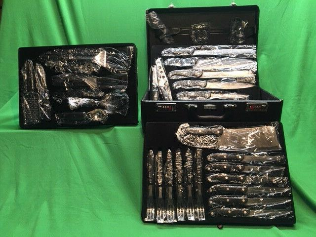 NEW - BergHOFF 32 PC Knife and Accessory Set with Case, Blac