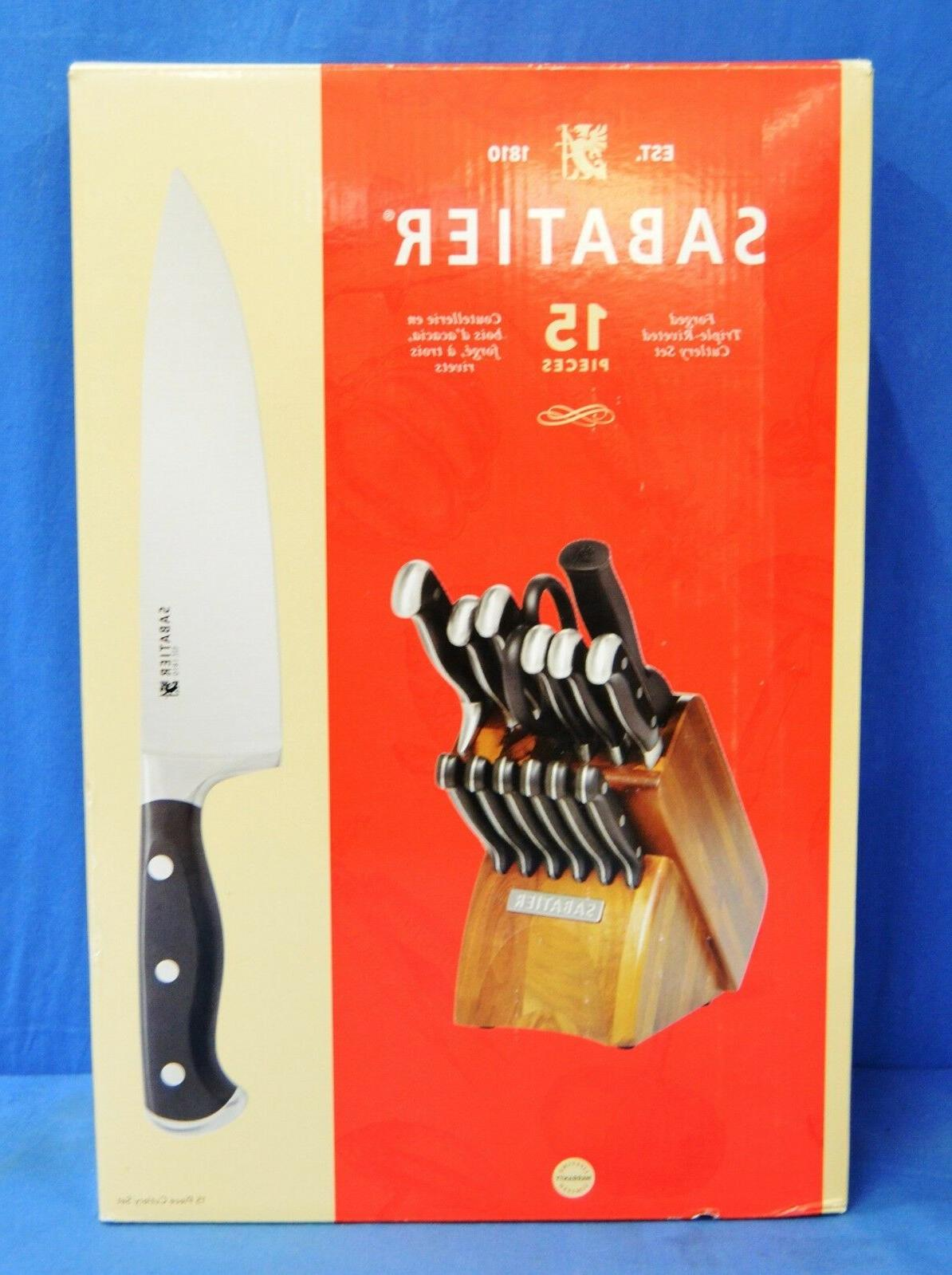 Sabatier 15-Piece Forged Triple-Rivet Knife Block Set with A