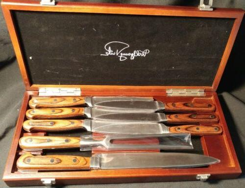 Wolfgang Puck Knife Set Carving Fork Meat and Steak Knives 8