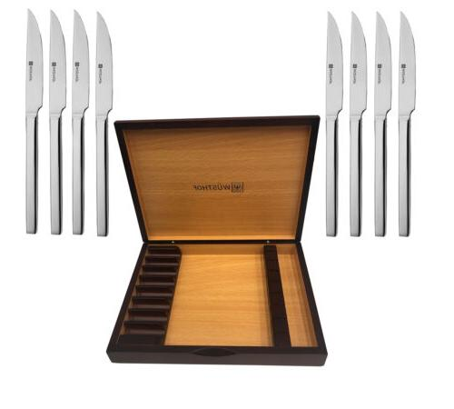 Wusthof 8-Piece Stainless-Steel Steak Knife Set with Wooden