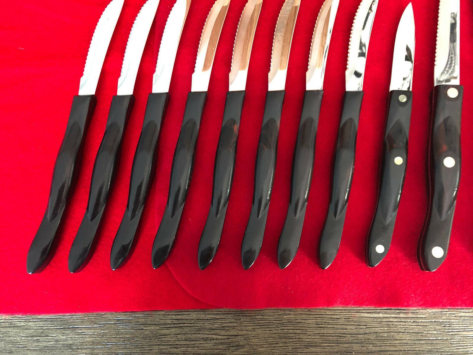BEAUTIFUL HOMEMAKER 8 KNIFE SET WITH HONEY OAK