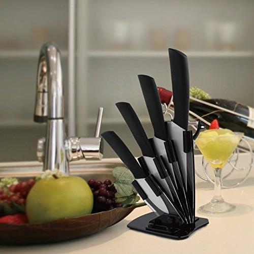 "Sharp Ceramic Cutlery Knife Set 3"" Knife, 5""Slicer Knife with a"