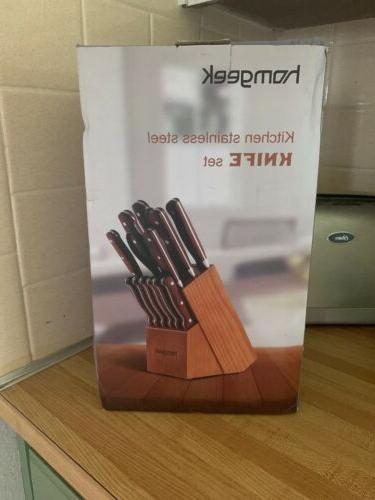 Chef Knife Set,15 Knife With Block,Wood