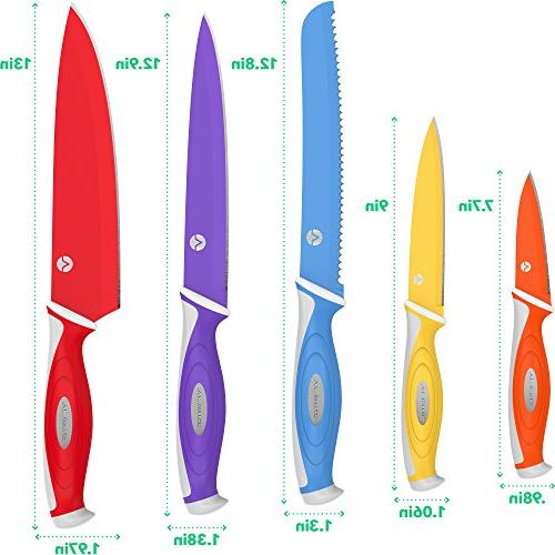 Vremi 10 Colorful Knife Set - 5 Kitchen Knife Sheath Covers - Chef Carving Serrated and Magnetic Knife Set with Matching