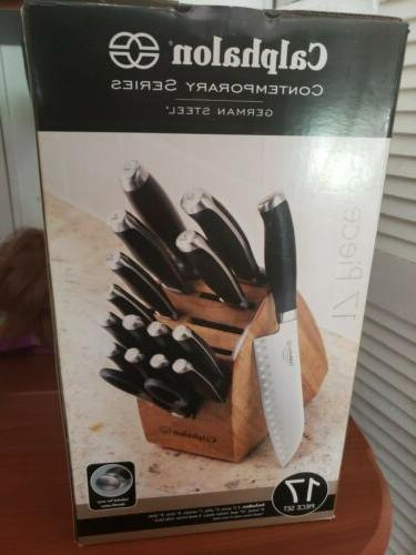 contemporary german steel knife set 17 pieces