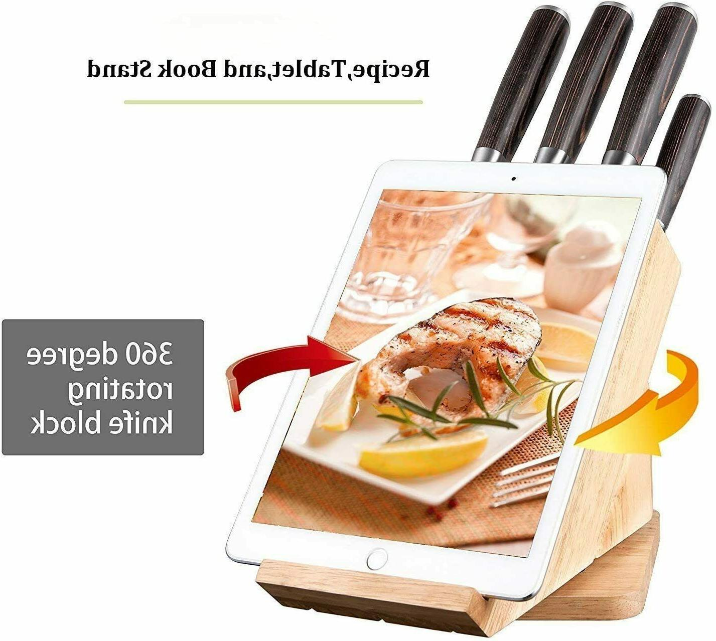 Deik 6 PC Pine Wood Handle Chef Stainless Steel Knife Set wi