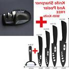 Different Size Kitchen Knives Set Get Free Peeler White And