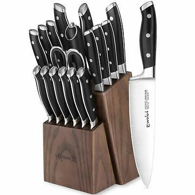 EMOJOY Knife Kitchen Knife Set Block Wooden - Steel