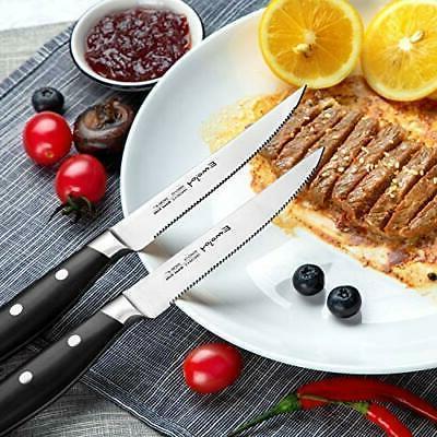 EMOJOY Kitchen Knife Block Wooden Steel