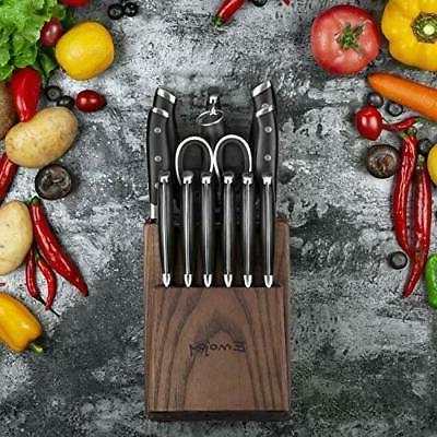 EMOJOY Kitchen Knife Set Block Wooden Steel