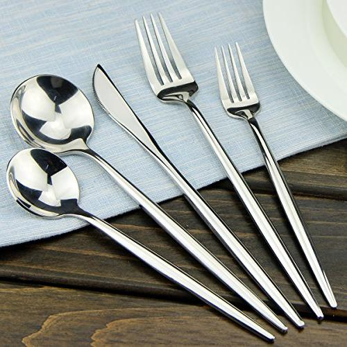 Silverware AOOSY modern 20 18/10 Stainless Steel and Fork Flatware 4, DISHWASHER SAFE