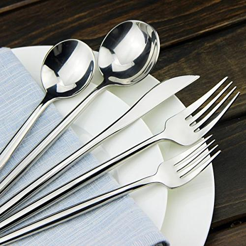 Silverware AOOSY modern 20 Pieces 18/10 Stainless Steel and Spoon Fork Flatware Service 4, DISHWASHER SAFE