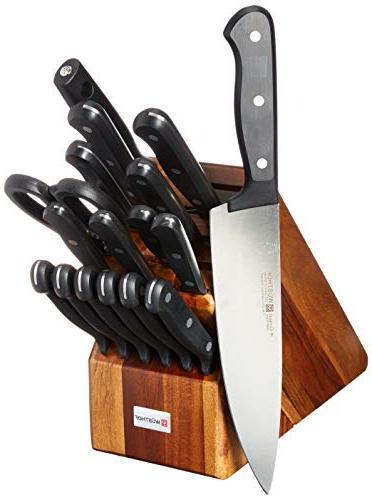 gourmet piece cutlery set color acacia block