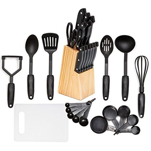 HULLR 30-Piece Kitchen Utensils and Knife Block Set, All Pur