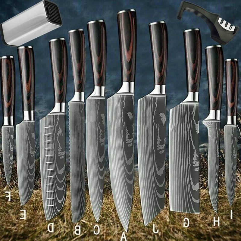 japanese kitchen knife set damascus pattern carbon